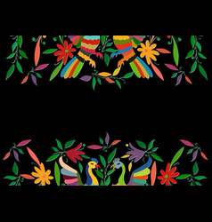 mexican traditional textile embroidery style card vector image