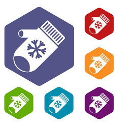 mitten with snowflake icons set vector image
