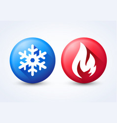 Modern 3d hot and cold icon set flame snowflake vector