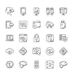 Network and communication doodle icons set vector