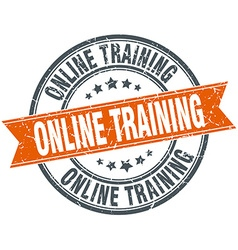 Online training round orange grungy vintage vector