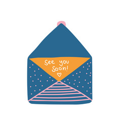 opened retro blue mail envelope with see you soon vector image