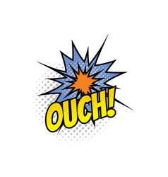 ouch cartoon comic book sound blast explosion vector image