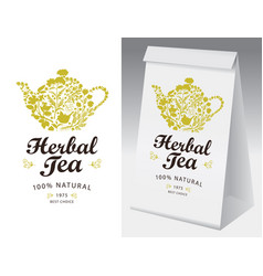Paper packing and label for herbal tea vector
