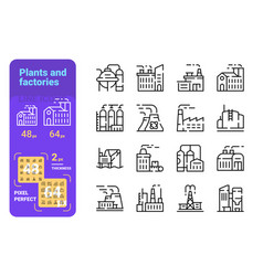 plants and factories line icons set vector image