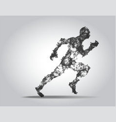Polygonal running man figure on white background vector