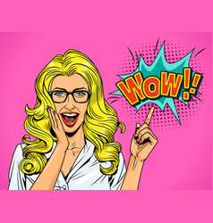 pop art pretty surprised blonde girl vector image