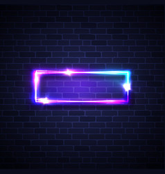 realistic led neon lights frame rectangle signage vector image