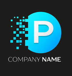 Realistic letter p logo in colorful circle vector