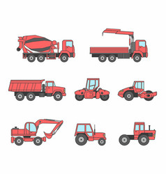 red construction machines icons set vector image