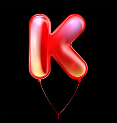 Red metallic balloon inflated alphabet symbol k vector