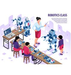 robotics classroom isometric background vector image