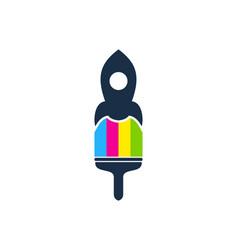 rocket paint logo icon design vector image