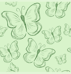 seamless pattern with butterfly green butterfly vector image