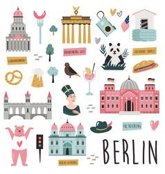 set famous symbols and landmarks berlin vector image