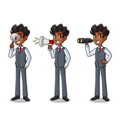 set of businessman in vest looking for poses vector image