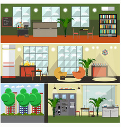 Set of university interior posters banners vector