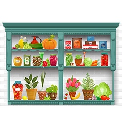 shelves with Fresh produce and herb planted in vector image