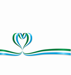 Sierra leone flag heart-shaped ribbon vector