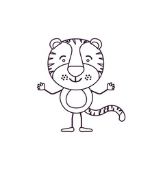 Sketch contour caricature of cute tiger happiness vector