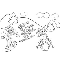 snowboarding and skiing girls cartoon color book vector image