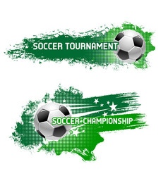 Soccer tournament of flying football ball vector