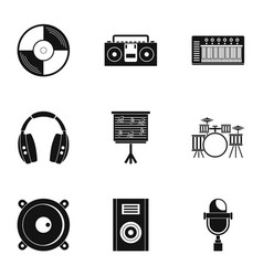 sound studio icon set simple style vector image