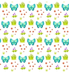 Spring forest butterfly and grass sheaf pattern vector