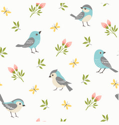 Spring little birds pattern vector