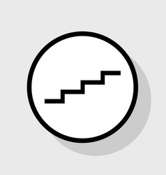 Stair up sign flat black icon in white vector