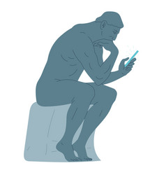 statue thinker sitting with a smartphone in his vector image