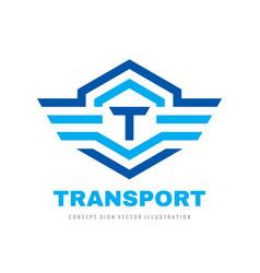 transport logo design letter t concept vector image