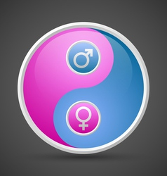 Venus and Mars female and male yin yang symbol vector image