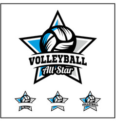 Volleyball ball all star badge logo vector