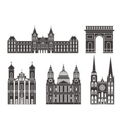 western europe european buildings on white vector image vector image