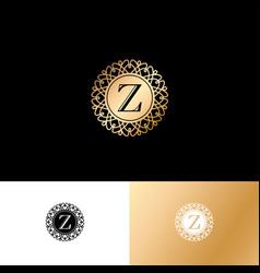 Z gold letter monogram gold circle lace ornament vector