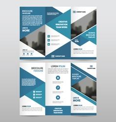Blue business trifold Leaflet Brochure templates vector image