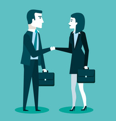 Business cooperation handshake of two business vector