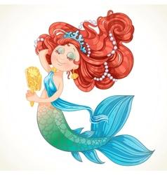 Cute mermaid girl before the mirror vector image vector image