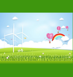 ecology concept with green city and trees paper vector image vector image