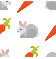 flat style seamless pattern with rabbit and carrot vector image