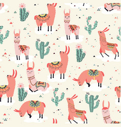 happy lama seamless pattern vector image vector image