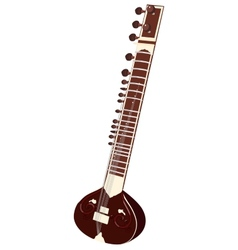 Indian musical instruments - sitar vector