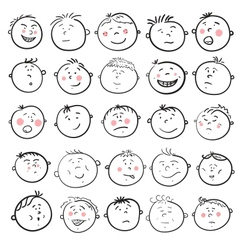 Man face cartoon set vector image vector image