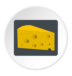 Piece of cheese icon circle vector