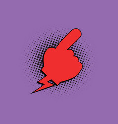 red hand pointer comic bubble vector image