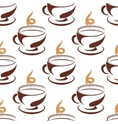Steaming cup of coffee seamless pattern vector