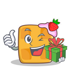 waffle character cartoon design with gift vector image