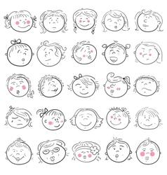 Cartoon face of girl set vector image