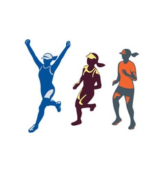 Female Triathlete Marathon Runner Collection vector image vector image